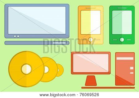 Set Digital Objects On Flat Style