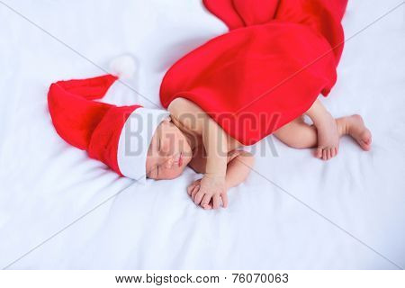 Greeting Card With Newborn Santa
