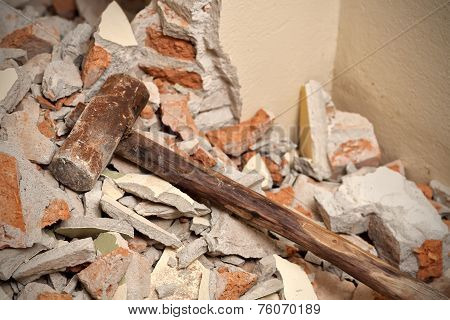 Old Wood Hammer In Demolition House