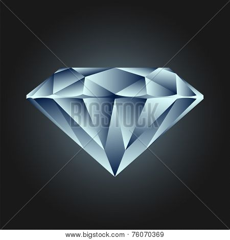 Diamond jewel on dark background - vector illustration