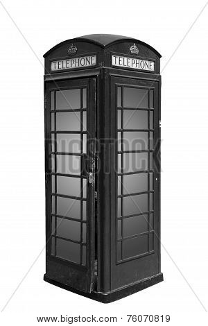 Classic British phone booth in London UK, isolated on white, black and white photo
