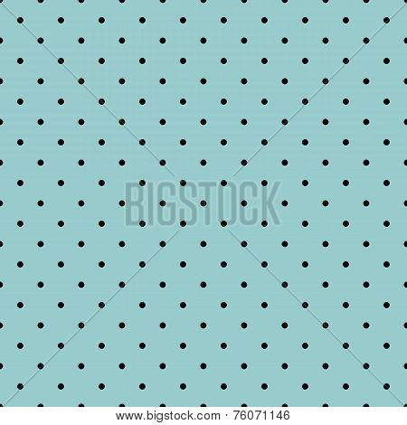 Seamless vector pattern with tile black polka dots on mint green background
