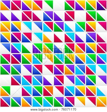 Colorful Childish Rainbow Colored Triangles, Seamless Vector Pattern