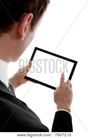 Businessman Holding A Blank Touchpad Pc, 1 Finger Touches The Screen