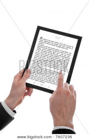 Male Hand Holding A Touchpad Pc Showing An E-book