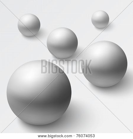 Abstract background with realistic grey spheres