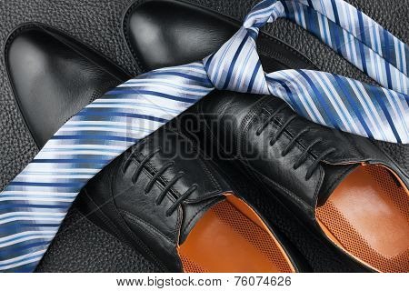 Fashion Background Of Shoes And Tie