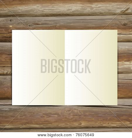 Design Template white blank magazine on the wooden table.