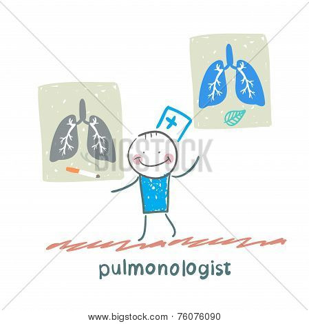 pulmonologist with placards on which painted light smoker and a healthy person