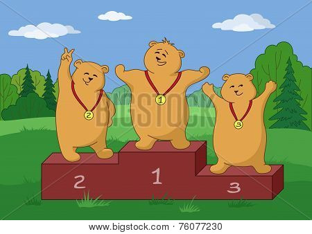 Teddy bears sportsmans, contours