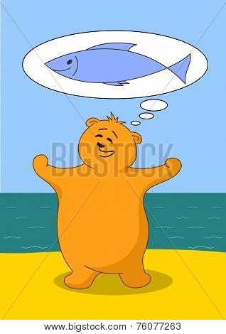 Teddy bear fisherman on seacost