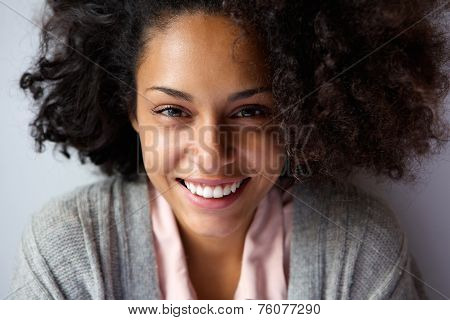 Beautiful African American Woman Face Smiling