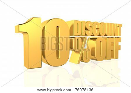 Discount 10 Percent Off. 3D Illustration.