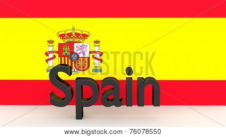 Writing Spain In Front Of A Spanish Flag
