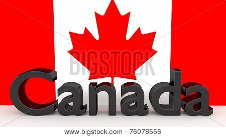 Writing Canada In Front Of A Canadian Flag