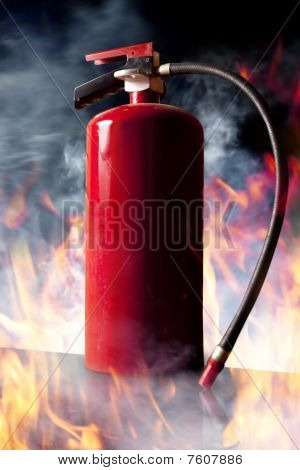 Fire Extinguisher And Flames