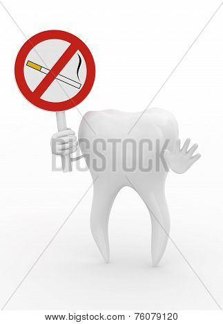 Tooth holding a danger sign