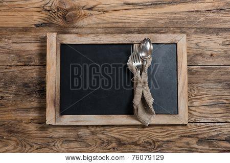 Menu Blackboard With Spoon, Fork And Blackboard