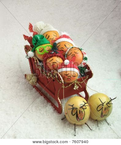 sleigh full of fruit