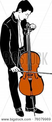 Young Male Musician Tuning Cello