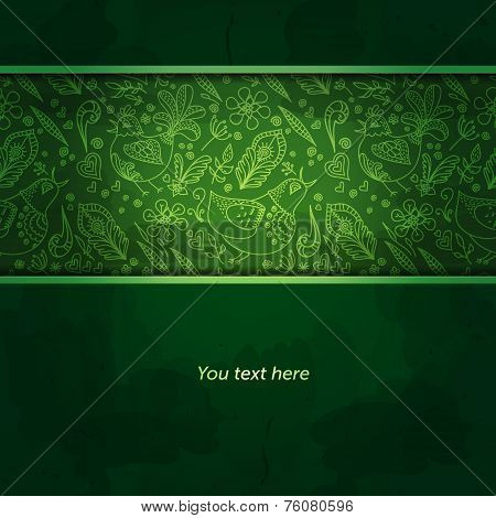 Vector Floral Background. Abstract Green Background Or Green Bac