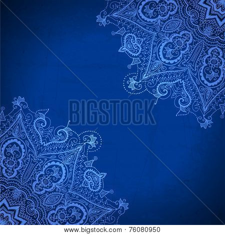 Blue Abstract Vector Background. Lace Border Frame For Your Desi