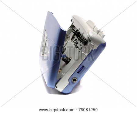 Old Portable Cassette Player On A White Background