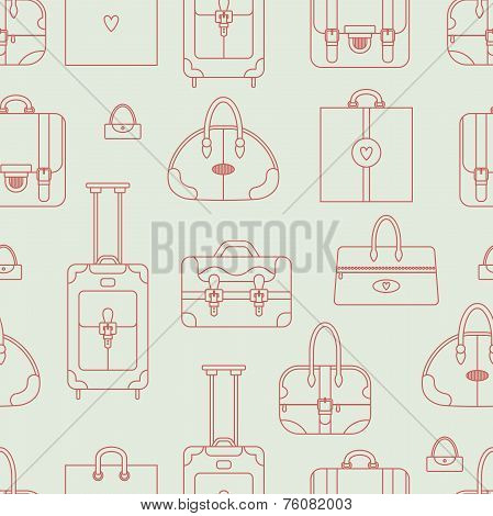 Seamless vector background with shopping bags, handbags, plastic