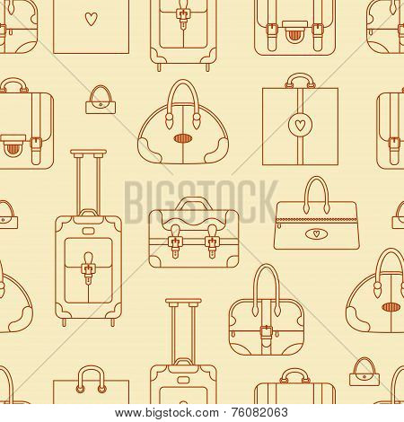 Abstract seamless vector background with shopping bags, handbags