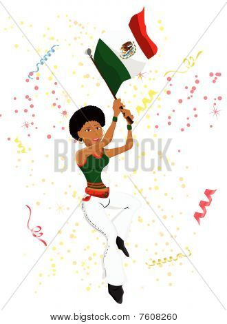 Black Girl Mexico Soccer Fan with flag.
