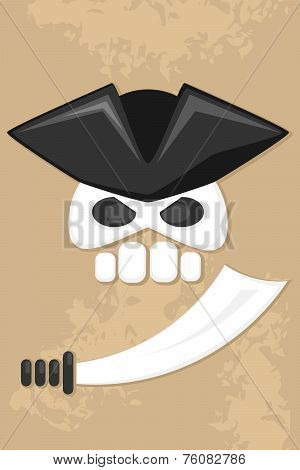 cartoon pirate skull with sword