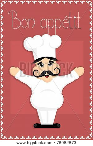 cartoon kitchen chef with bon appetit sign