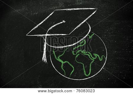 E-learning, Global Online Courses And Graduation Cap