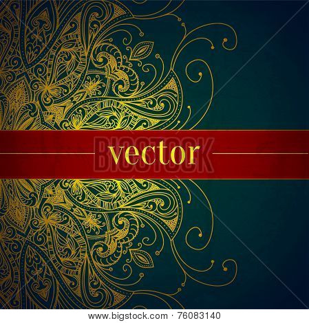 Tribal Vintage Vector Background. Floral Banner. Can Be Used For