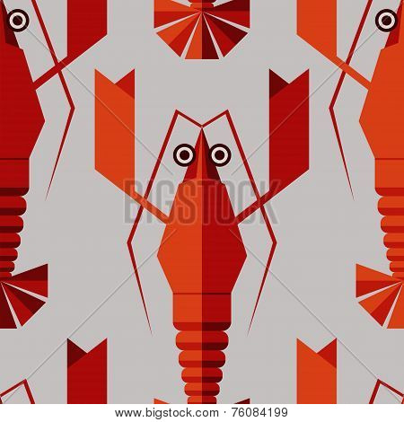 Seamless Abstract Vector Pattern With Geometric Lobsters. Red Lo