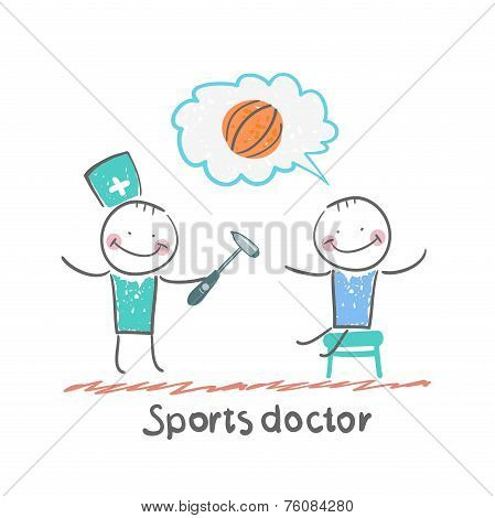 Sports doctor checking the reflexes of an athlete