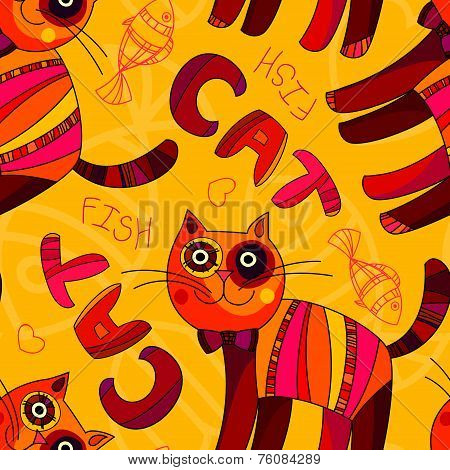 Vector Seamless Cat And Fish Pattern In Yellow, Orange And Pink