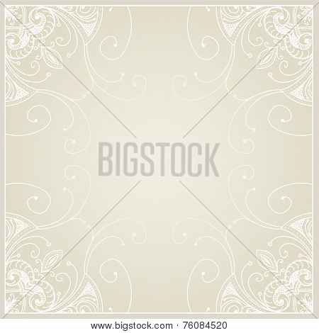 Abstract Background With Geometric Ornamental Frame. Floral Fram