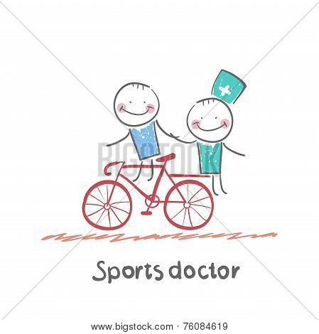 Sports doctor rides a bicycle with a patient