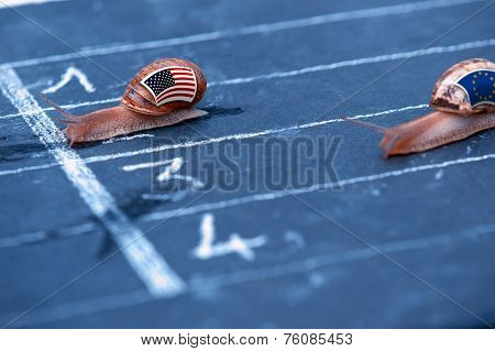 Snails Race Metaphor About Usa Against Europe