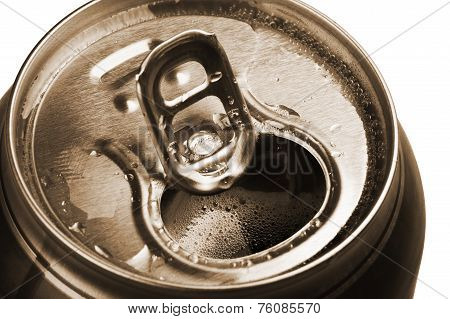 Opened Beer Can With Froth Close-up White
