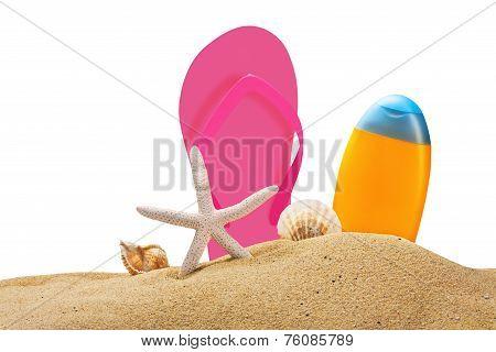Beach Gear On The Sea Sand Isolated