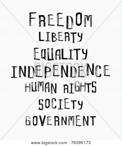 Freedom, Independence, Equality Concept, Word Cloud In Uneven Vintage Stamp Style