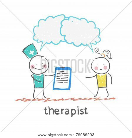 therapist keeps a folder in his hand and says to the patient