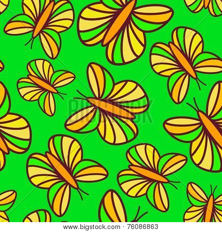 Joyful bright green seamless pattern with floating butterflies