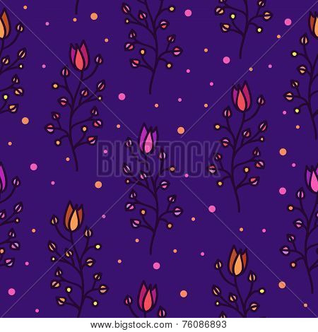 Shining Doodle harebells on dark violet background seamless pattern