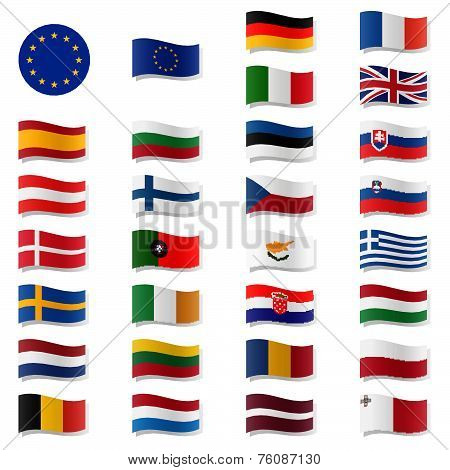 Eu Member States - Flags Swung