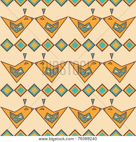 Ethnic Seamless Pattern With Yellow Geometric Birds