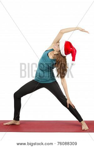 Christmas Yoga Woman Doing Reversed Warrior Pose