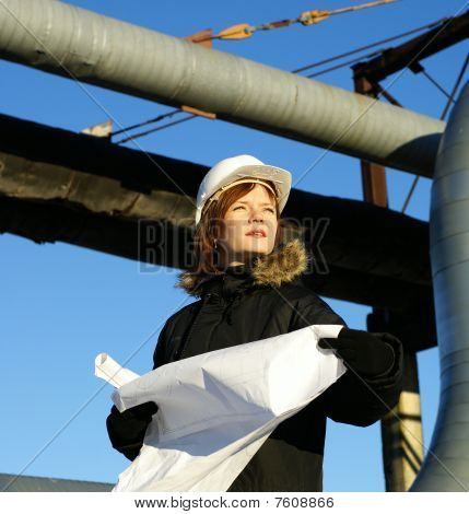 Woman Engineer Against Pipelines